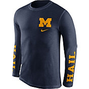 Nike Men's Michigan Wolverines Blue Fresh Tri-Blend Long Sleeve Shirt