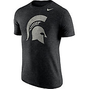 Nike Men's Michigan State Spartans Heathered Black Tri-Blend Stamp T-Shirt