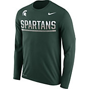 Nike Men's Michigan State Spartans Green Staff Sideline Long Sleeve Shirt