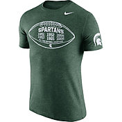 Nike Men's Michigan State Spartans Green Moments Tri-Blend Football T-Shirt