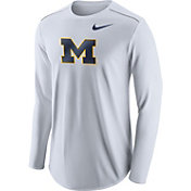 Nike Men's Michigan Wolverines Player White Dri-FIT Touch Performance Long Sleeve Shirt