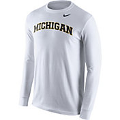 Nike Men's Michigan Wolverines White Wordmark Long Sleeve Shirt