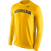 Nike Men's Michigan Wolverines Maize Wordmark Long Sleeve Shirt