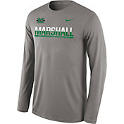 Nike Men's Marshall Thundering Herd Grey Staff Sideline Long Sleeve Shirt