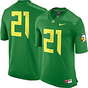 Nike Men's Oregon Ducks #21 Apple Green Game Football Jersey
