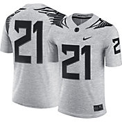 Nike Men's Oregon Ducks #21 Gridiron Grey Limited Football Jersey