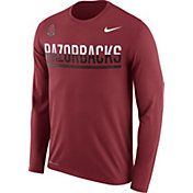 Nike Men's Arkansas Razorbacks Cardinal Staff Sideline Long Sleeve Shirt