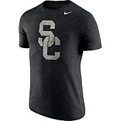 Nike Men's USC Trojans Heathered Black Tri-Blend Stamp T-Shirt