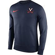 Nike Men's Virginia Cavaliers Blue Football Sideline KO Fleece Crew