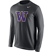 Nike Men's Washington Huskies Anthracite Logo Long Sleeve Shirt