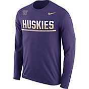 Nike Men's Washington Huskies Purple Staff Sideline Long Sleeve Shirt