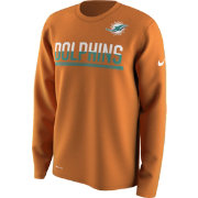 Nike Men's Miami Dolphins Team Practice Performance Orange Long Sleeve Shirt