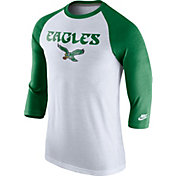 Nike Men's Philadelphia Eagles Tri-Blend Historic Raglan White/Green T-Shirt