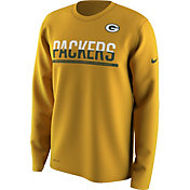 Nike Men's Green Bay Packers Team Practice Performance Gold Long Sleeve Shirt