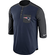 Nike Men's New England Patriots Dri-FIT Touch Henley Navy Three-Quarter Sleeve Shirt