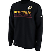 Nike Men's Washington Redskins Team Practice Performance Black Long Sleeve Shirt