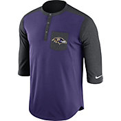 Nike Men's Baltimore Ravens Dri-FIT Touch Henley Purple Three-Quarter Sleeve Shirt