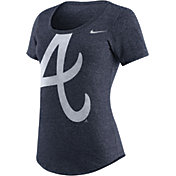 Nike Women's Atlanta Braves Marled Navy Scoop Neck T-Shirt