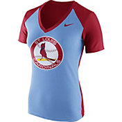 Nike Women's St. Louis Cardinals Fan Cooperstown Light Blue/Red V-Neck Shirt