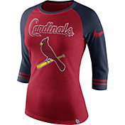 Nike Women's St. Louis Cardinals Red/Navy Raglan Three-Quarter Sleeve Shirt