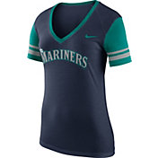 Nike Women's Seattle Mariners Fan Navy V-Neck Shirt