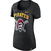 Nike Men's Pittsburgh Pirates Marled Black Boyfriend Scoop Neck T-Shirt