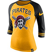 Nike Women's Pittsburgh Pirates Gold/Black Raglan Three-Quarter Sleeve Shirt