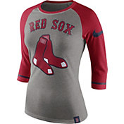 Nike Women's Boston Red Sox Grey/Red Raglan Three-Quarter Sleeve Shirt