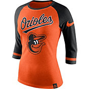 Nike Women's Baltimore Orioles Orange/Black Raglan Three-Quarter Sleeve Shirt