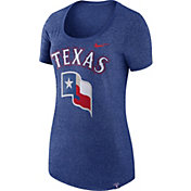 Nike Women's Texas Rangers Marled Royal Boyfriend Scoop Neck T-Shirt