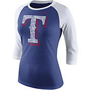 Nike Women's Texas Rangers Raglan Royal/White Three-Quarter Shirt
