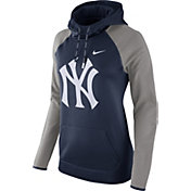 Nike Women's New York Yankees Grey Therma Pullover Hoodie