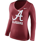 Nike Women's Alabama Crimson Tide Crimson Mid-V Logo Long Sleeve Shirt