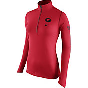 Nike Women's Georgia Bulldogs Red Tailgate Element Half-Zip Shirt