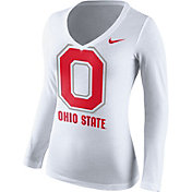 Nike Women's Ohio State Buckeyes White Mid-V Logo Long Sleeve Shirt