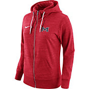 Nike Women's Ole Miss Rebels Heathered Red Tailgate Gym Vintage Full-Zip Hoodie
