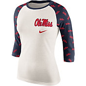Nike Women's Ole Miss Rebels Cream/Blue Veer Tri-Blend Three-Quarter Raglan Shirt