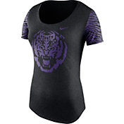 Nike Women's LSU Tigers Heathered Black Tri-Blend First String Scoop T-Shirt