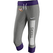 Nike Women's LSU Tigers Grey/Purple Tailgate Gym Vintage Capris