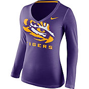 Nike Women's LSU Tigers Purple Mid-V Logo Long Sleeve Shirt