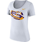 Nike Women's LSU Tigers White Logo Scoop Neck T-Shirt