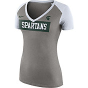 Nike Women's Michigan State Spartans Tailgate Football Grey/White T-Shirt