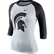 Nike Women's Michigan State Spartans Oatmeal/Black Raglan ¾ Sleeve Shirt