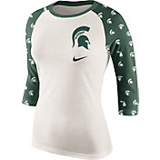 Nike Women's Michigan State Spartans Cream/Green Veer Tri-Blend Three-Quarter Raglan Shirt