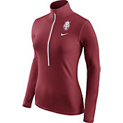 Nike Women's Arkansas Razorbacks Cardinal Pro Hyperwarm Half-Zip Shirt