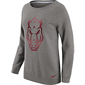 Nike Women's Arkansas Razorbacks Grey Champ Drive Boyfriend Crew Sweatshirt