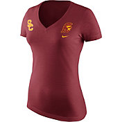 Nike Women's USC Trojans Heathered Cardinal Tri Team Badge Mid V-Neck T-Shirt