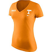Nike Women's Tennessee Volunteers Heathered Tennessee Orange Tri Team Badge Mid V-Neck T-Shirt