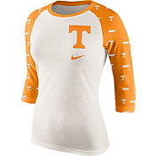 Nike Women's Tennessee Volunteers Cream/Tennessee Orange Veer Tri-Blend Three-Quarter Raglan Shirt