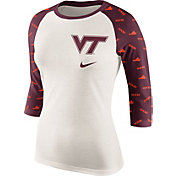 Nike Women's Virginia Tech Hokies Cream/Maroon Veer Tri-Blend Three-Quarter Raglan Shirt